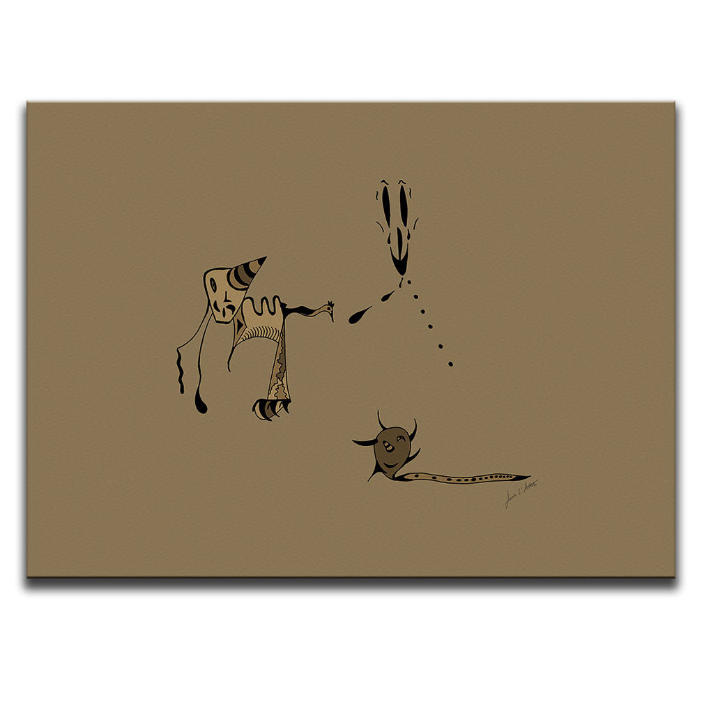 Canvas Wall Art featuring a surreal image of a nightmare or night terror drawn in a surrealist style using the colour brown. Artwork by Louis l'Artiste