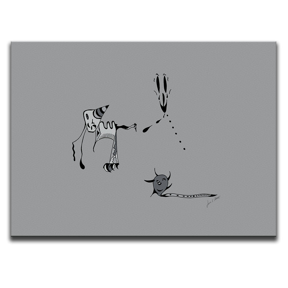 Canvas Wall Art featuring a surreal image of a nightmare or night terror drawn in a surrealist style using the colour grey. Artwork by Louis l'Artiste