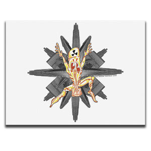 Canvas Wall Art featuring a cartoon character wearing a Nuclear Biological Chemical Suit against a photographic collage of skyscrapers and a white background. Artwork by B.I./O.S.