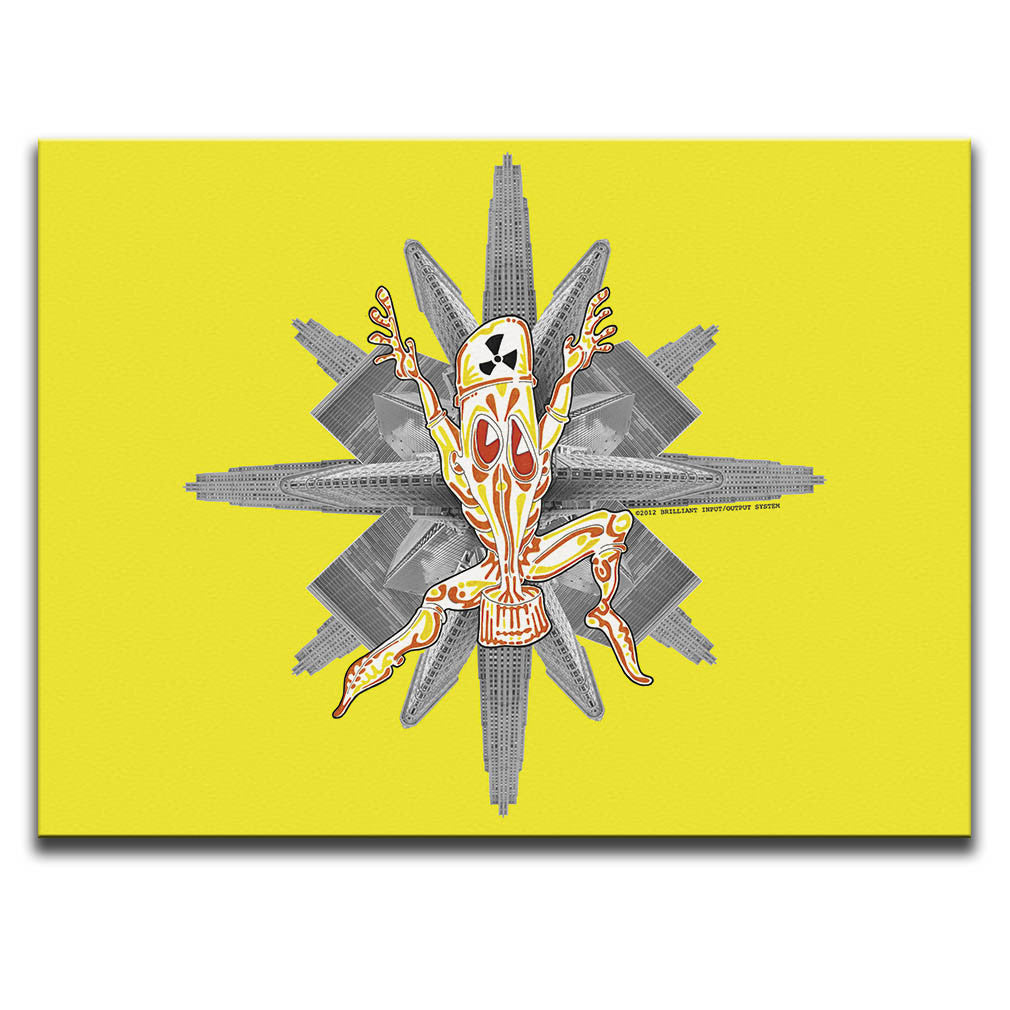 Canvas Wall Art featuring a cartoon character wearing a Nuclear Biological Chemical Suit against a photographic collage of skyscrapers and a yellow background. Artwork by B.I./O.S.