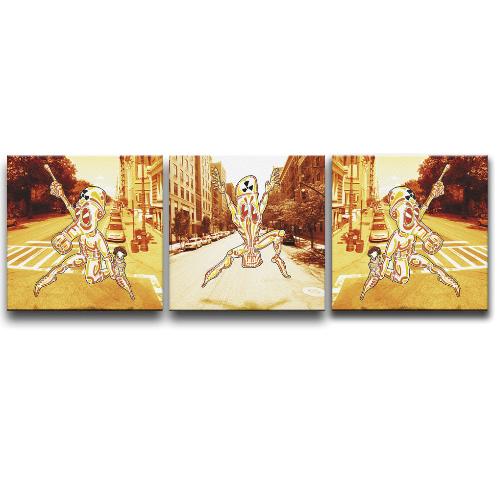 Canvas Wall Art triptych featuring a character wearing a Chemical Suit against a photographic background of New York. Artwork by B.I./O.S.