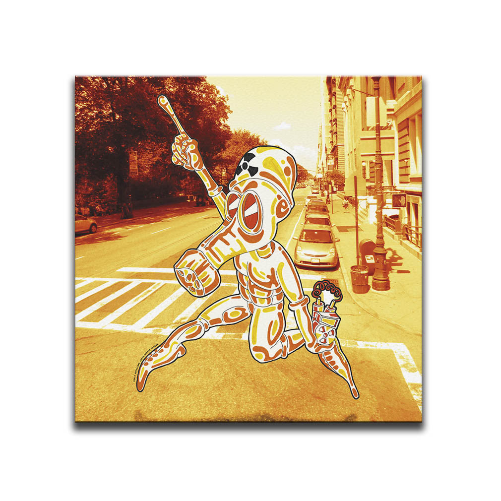 Canvas Wall Art featuring a cartoon image of a character wearing a NBC Suit carrying a bomb against a photographic background of a New York road. Artwork by B.I./O.S.