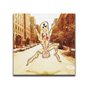 Canvas Wall Art featuring a cartoon image of a jumping character wearing a Chemical Suit in front of a photographic background of a New York street. Artwork by B.I./O.S.