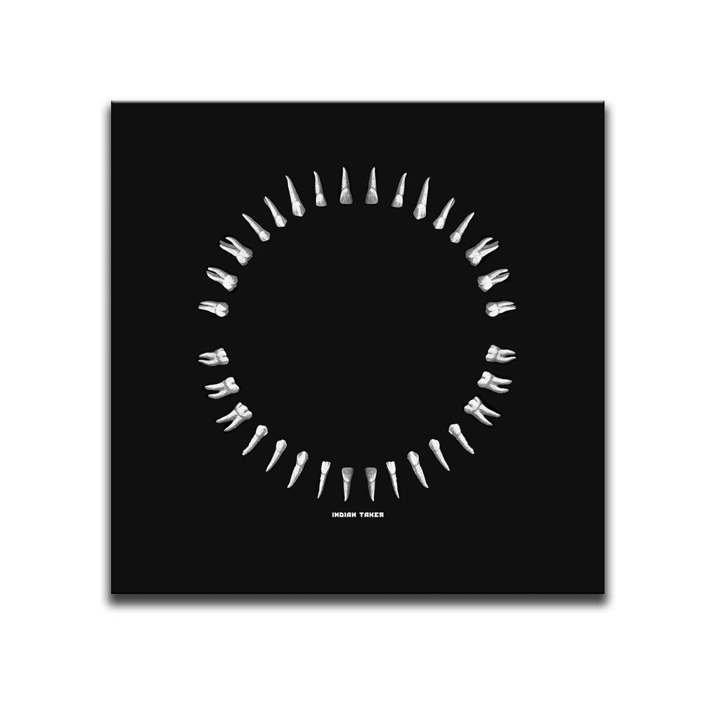 Square Canvas Wall Art featuring an image of white teeth illustrated in a printmaking style and arranged into a circle. Artwork by Indian Taker