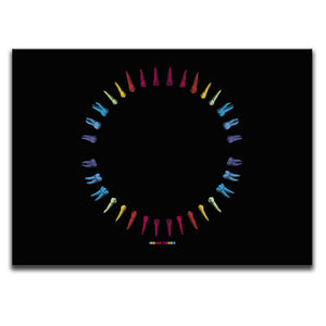 Rectangular Canvas Wall Art featuring an image of multicoloured teeth illustrated in a printmaking style and arranged into a circle. Artwork by Indian Taker
