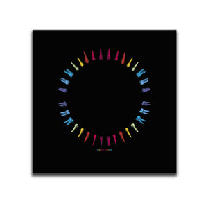 Square Canvas Wall Art featuring an image of multicoloured teeth illustrated in a printmaking style and arranged into a circle. Artwork by Indian Taker