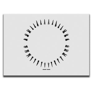Rectangular Canvas Wall Art featuring an image of black teeth illustrated in a printmaking style and arranged into a circle. Artwork by Indian Taker