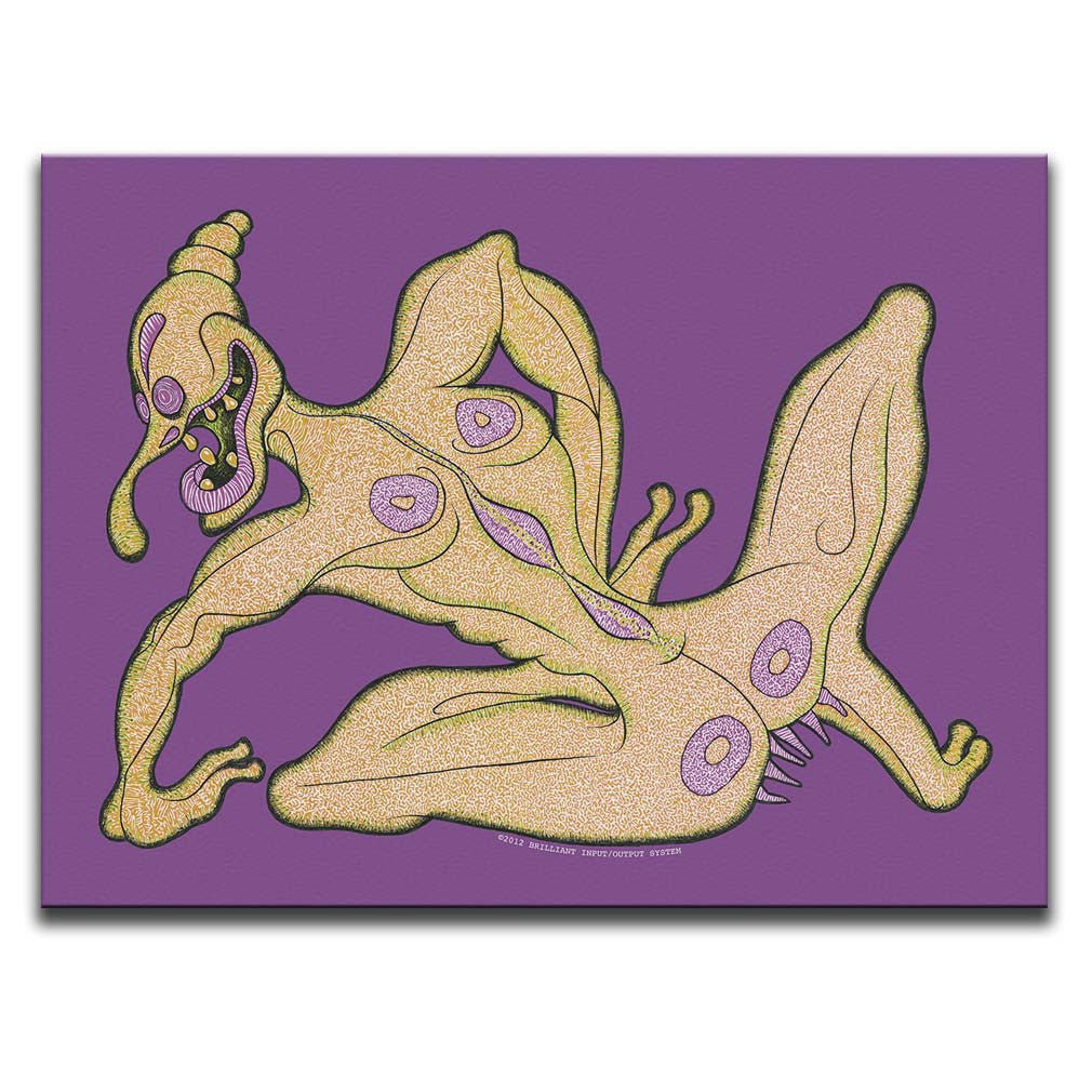 Canvas Wall Art featuring a surreal and cartoonish image of an orange creature named Tulip against a light purple background. Artwork by B.I./O.S.