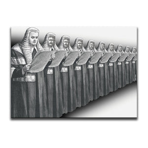 Black And White Canvas Wall Art featuring a repeated engraving of a judge in court dress. The ten judges are shown standing in a line reading a scroll with nine of them having a possessed face. Artwork by Indian Taker