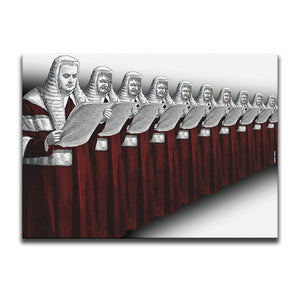 Red And White Canvas Wall Art with a repeated engraving of a High Court Judge in a wig and robe. The ten judges are standing in a line reading a scroll and nine of them have a possessed face. Artwork by Indian Taker