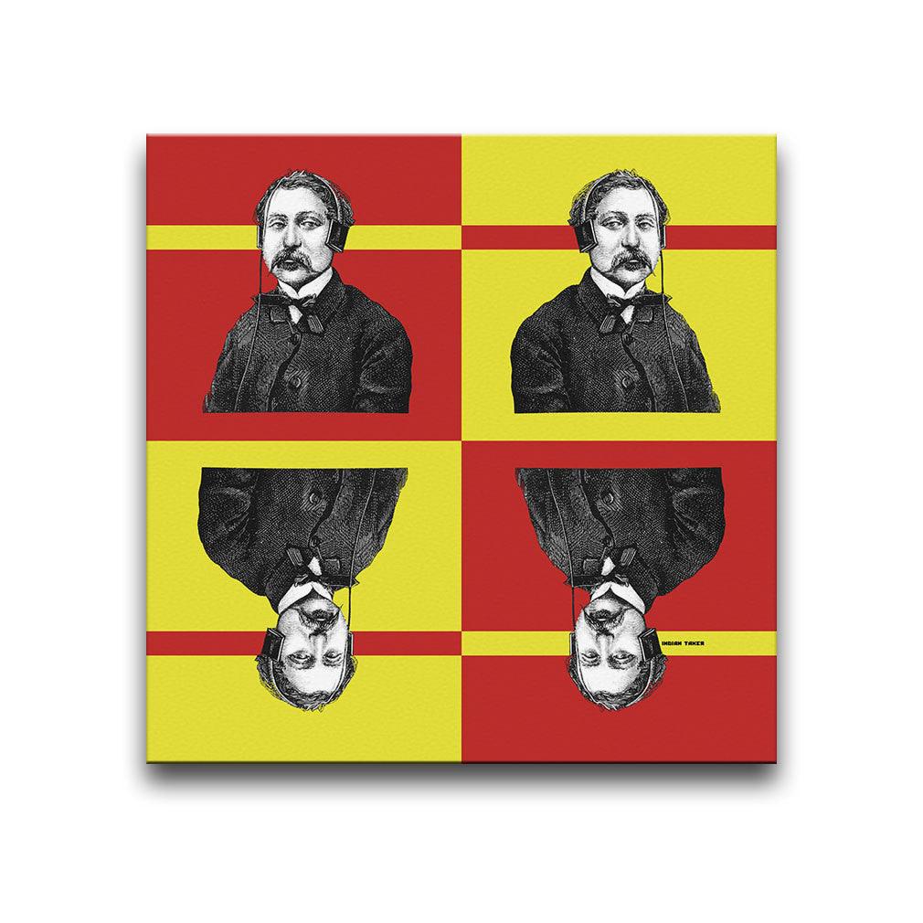 Canvas Wall Art featuring a repeated image of a man wearing headphones in a printmaking style set against a red and yellow background with stripes. Artwork by Indian Taker