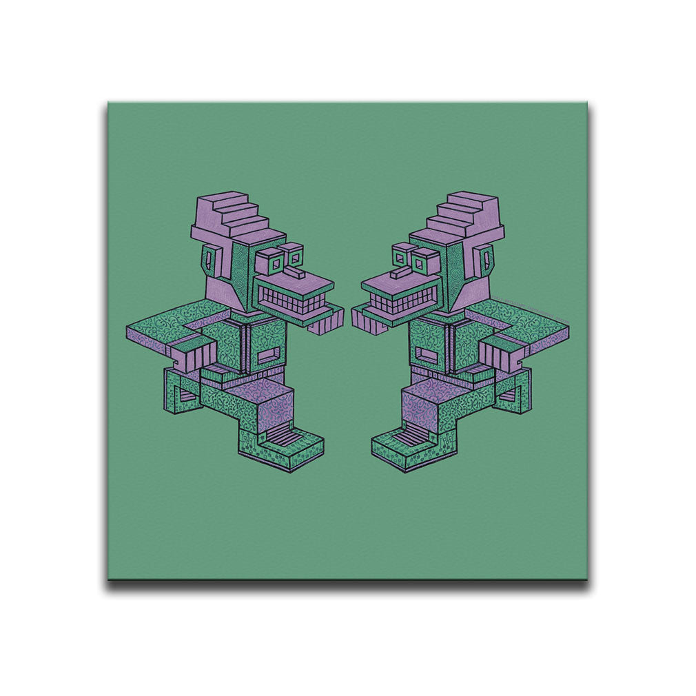 Canvas Wall Art featuring an angular and patterned image of two pink and green running characters against a green background. Artwork by B.I./O.S.
