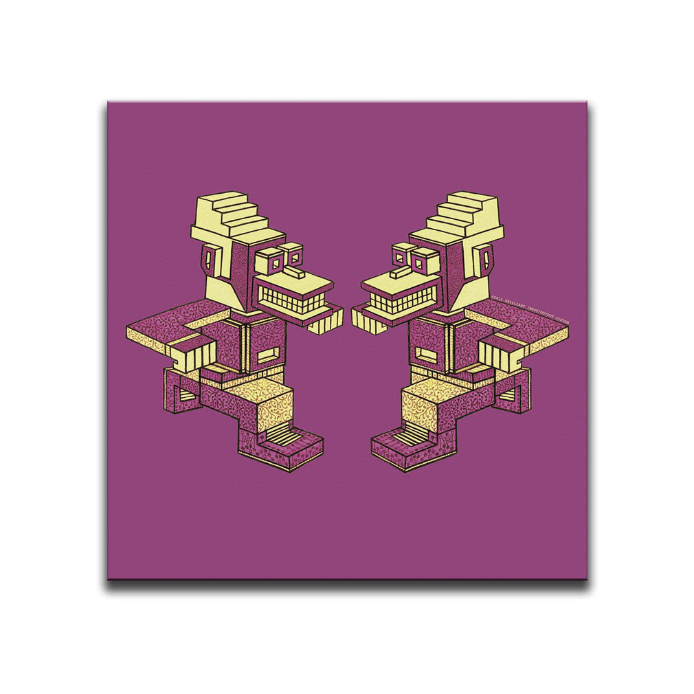 Canvas Wall Art featuring an angular and patterned image of two purplish and yellowish running characters against a mulberry coloured background. Artwork by B.I./O.S.