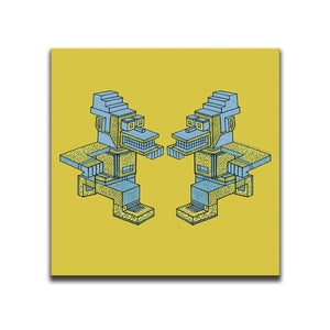 Canvas Wall Art featuring an angular and patterned image of two yellow and blue running characters against a yellow background. Artwork by B.I./O.S.