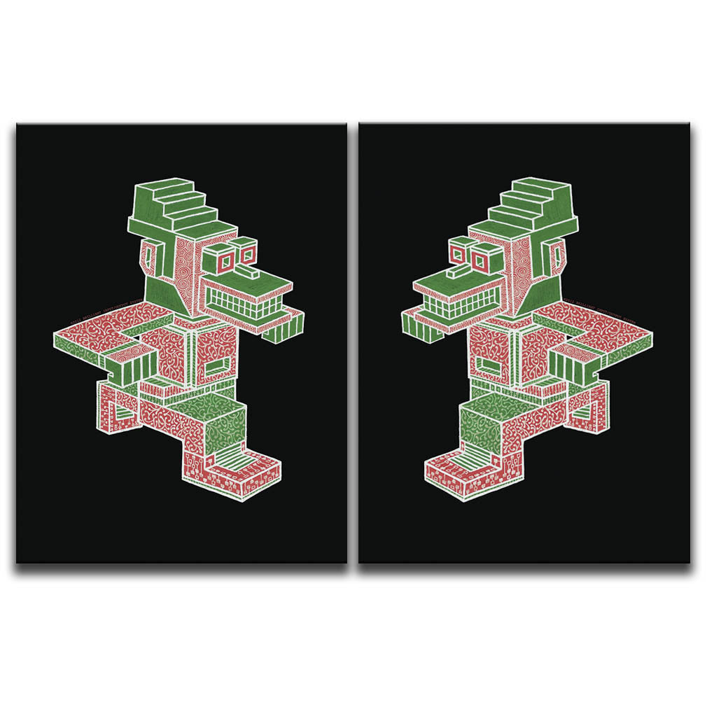 Canvas Wall Art Diptych featuring an angular and patterned image of a running character against a black background shown facing towards each other. Artwork by B.I./O.S.