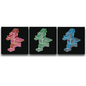 Canvas Wall Art Triptych featuring an angular and patterned image of a running character in red, blue, and green each against a black background. Artwork by B.I./O.S.
