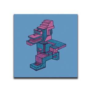 Square Canvas Wall Art featuring an angular and patterned image of a running character against a blue background. Artwork by B.I./O.S.