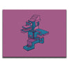 Rectangular Canvas Wall Art featuring an angular and patterned image of a running character against a pink background. Artwork by B.I./O.S.