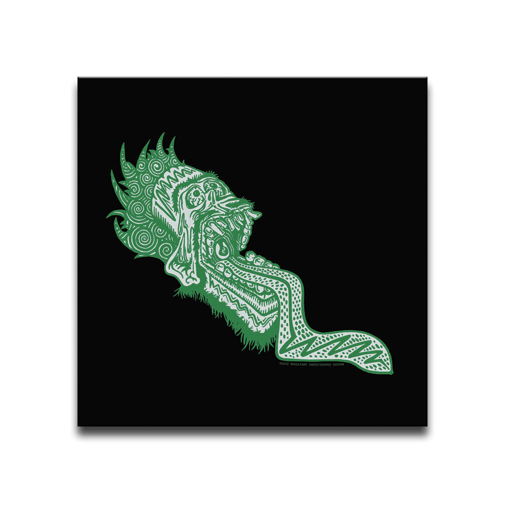 Canvas Wall Art featuring a graffiti and street art style image of a green screaming face with an open mouth and protruding tongue against a black background. Artwork by B.I./O.S.