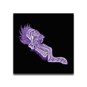 Canvas Wall Art featuring a graffiti and street art style image of a purple screaming face with an open mouth and protruding tongue against a black background. Artwork by B.I./O.S.