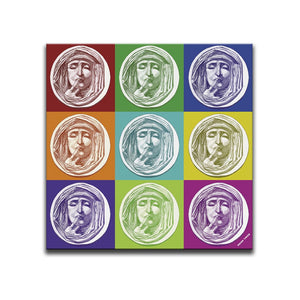 Canvas Wall Art featuring a repeated image of a woman holding her finger over her lips in a printmaking style set against nine multicoloured squares. Artwork by Indian Taker