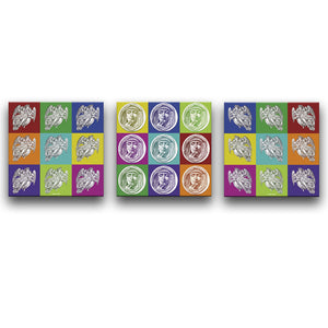 Canvas Wall Art Triptych featuring portraits and images of angels in a printmaking style arranged into a multicolour check or chequer pattern. Artwork by Indian Taker