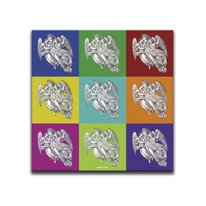 Right Hand Canvas for Silent Angels Canvas Wall Art Triptych. A multicoloured chequered pattern featuring angels by Indian Taker