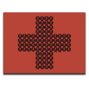 Canvas Wall Art featuring a cross pattern made of skulls and crosses in a printmaking style against a red background. Artwork by Indian Taker