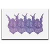 Canvas Wall Art featuring a surreal and ornate image of four purple smiling faces against a white background. Artwork by B.I./O.S.