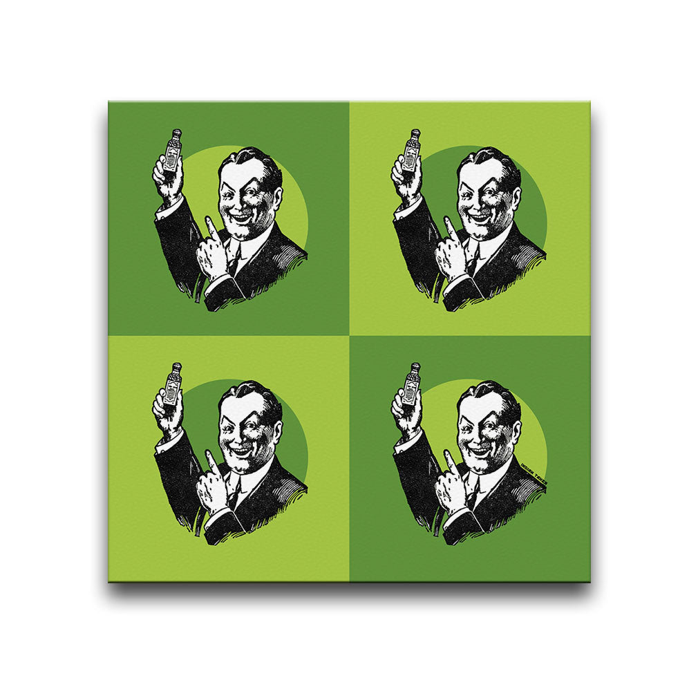Canvas Wall Art featuring a repeated image of a Snake Oil Salesman holding a medicine bottle in a printmaking style set against a green background. Artwork by Indian Taker