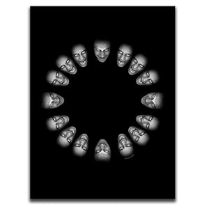 Black And White Photo Canvas Wall Art featuring horror and dark art images of screaming faces against a black background. Photograph by Broken Babies