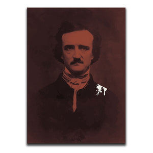 Canvas Wall Art featuring a burgundy toned image of Edgar Allan Poe with raven droppings or bird poop on his suit. Artwork by Indian Taker