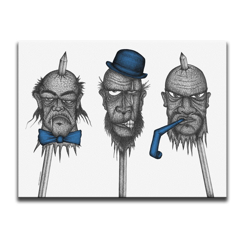 Horror themed Canvas Wall Art featuring a blue accented dark art image of three spiked heads against a white background. Artwork by Broken Babies
