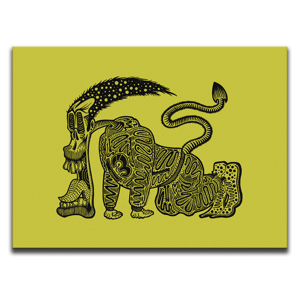 Canvas Wall Art featuring a graffiti and cartoon style stencil of a tired runner with his tongue out set against a bright yellow background. Artwork by B.I./O.S.