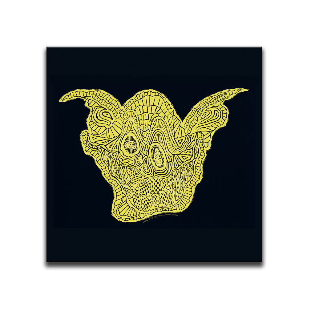 Canvas Wall Art featuring a surreal patterned image of a yellow smiling face against a black background. Artwork by B.I./O.S.