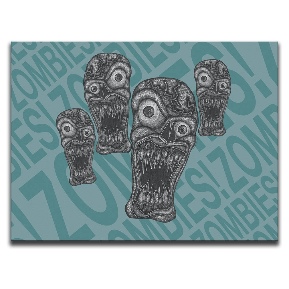"Canvas Wall Art featuring horror and dark art style image of zombies against a blue typographic background with the words ""zombies!"" repeated. Artwork by Broken Babies"