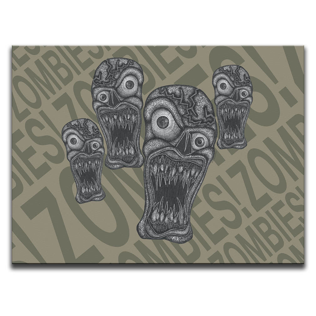 "Canvas Wall Art featuring horror and dark art style image of zombies against a brown typographic background with the words ""zombies!"" repeated. Artwork by Broken Babies"