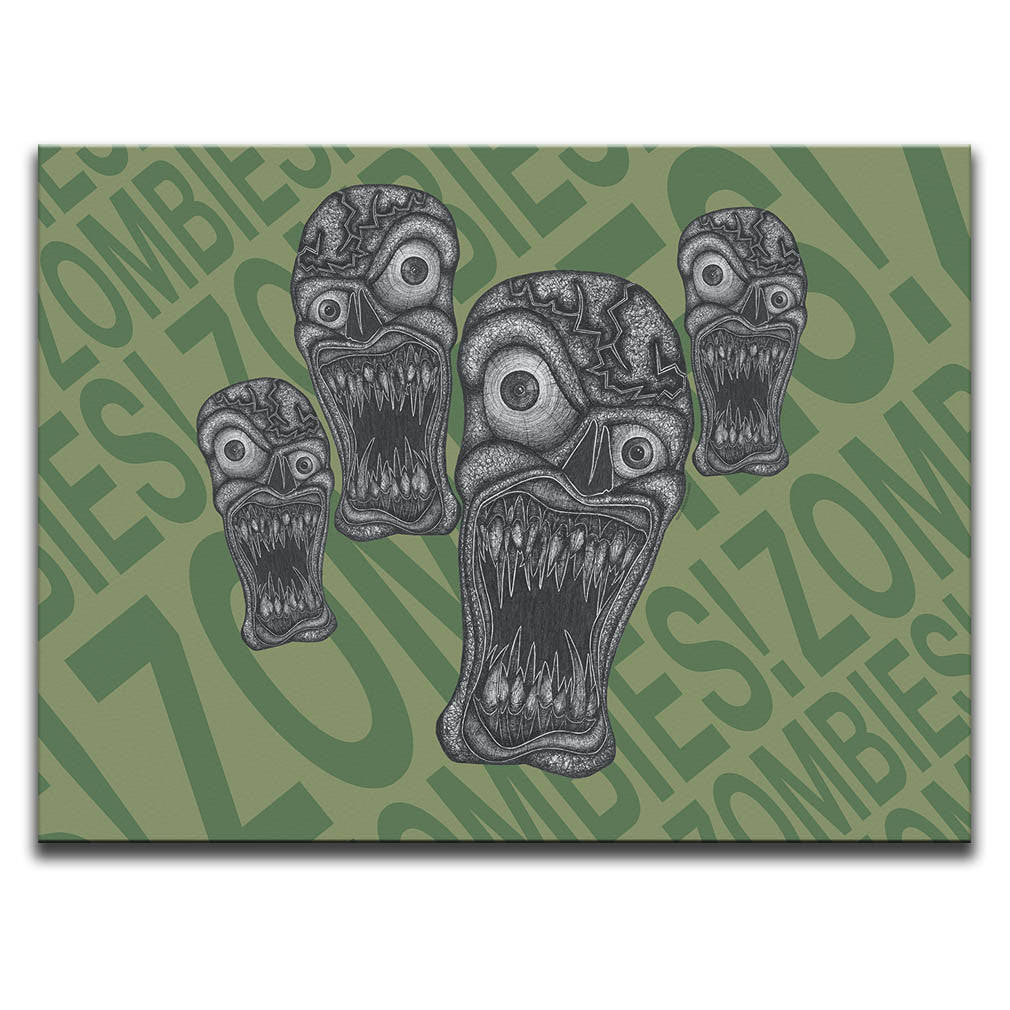 "Canvas Wall Art featuring horror and dark art style image of zombies against a green typographic background with the words ""zombies!"" repeated. Artwork by Broken Babies"
