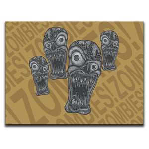 "Canvas Wall Art featuring horror and dark art style image of zombies against an orange typographic background with the words ""zombies!"" repeated. Artwork by Broken Babies"