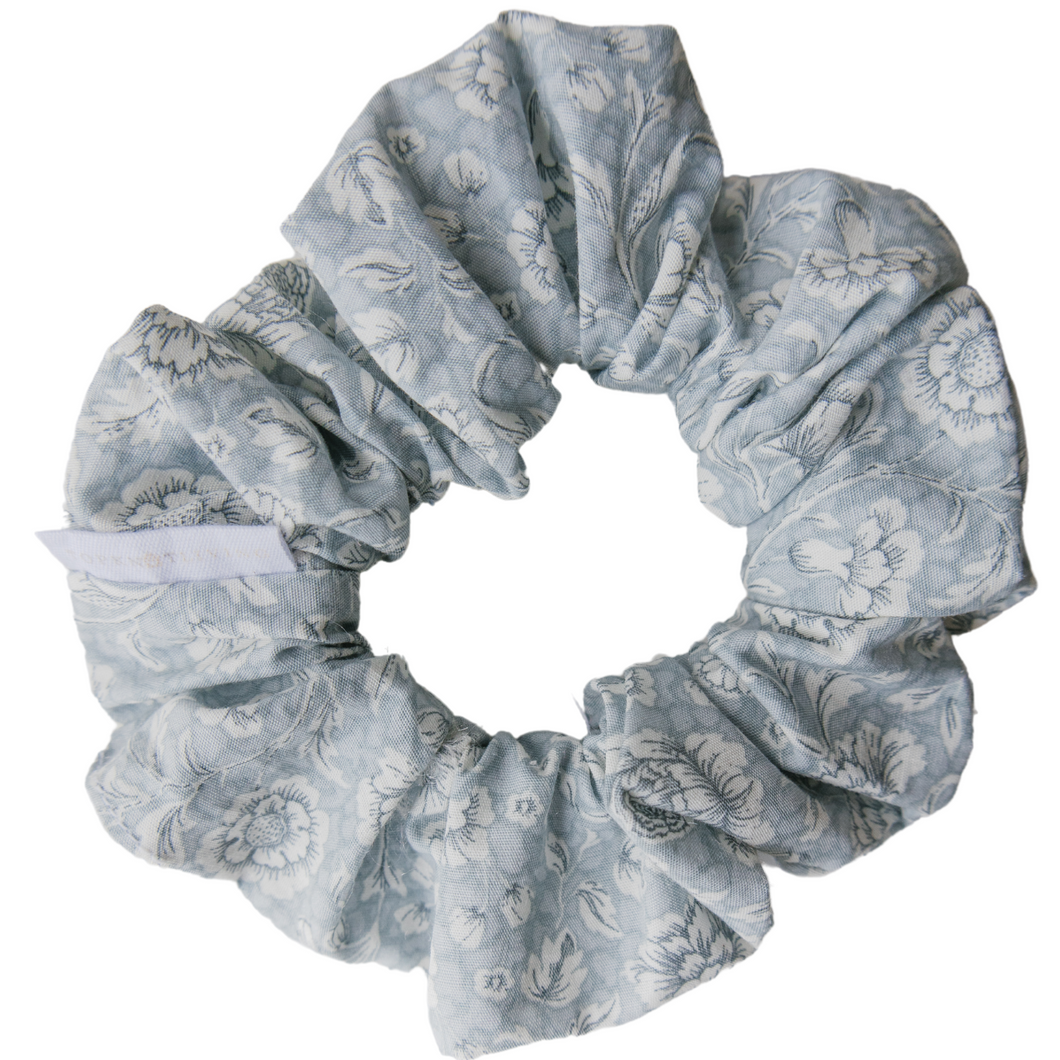 Floral Blue Scrunchie