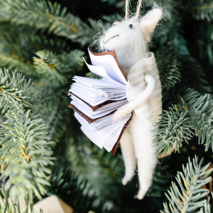 Bookworm Bob Felt Mouse Ornament