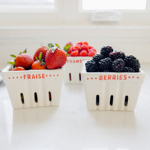 "Square Stoneware ""Berries"" Berry Basket"