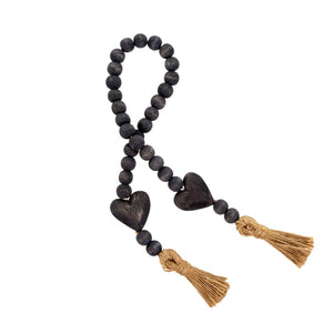 Grey Heart Tassel Prayer Beads