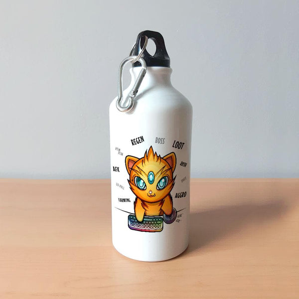Bouteille - Chat gamer - Heroes Stuff - animaux, blanc, bouteille, femme, fille, gamer, garçon, gourde, homme, jeux video