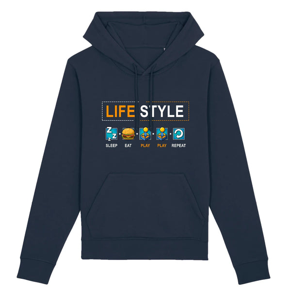 Sweat homme - Gamer life style - Heroes Stuff - gamer, homme, jeux video, marine, noir, sweat