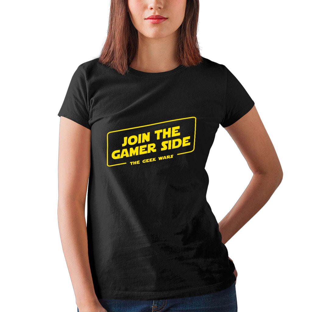 T-shirt BIO femme - Join the gamer side - Heroes Stuff - femme, gamer, jeux video, noir, t-shirt