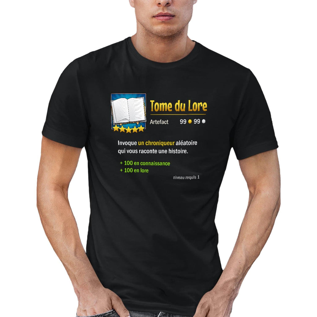 T-shirt BIO homme - tome du lore articles geek gamer mmorpg fantasy
