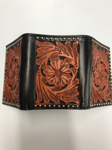 Ranger Western Tooled Leather Tri-Fold Wallet