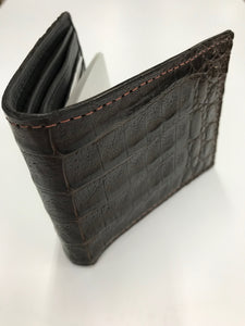 Men's Chocolate Caiman Gator Bi Fold Wallet