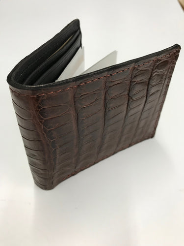 Men's Cigar Caiman Gator Bi Fold Wallet